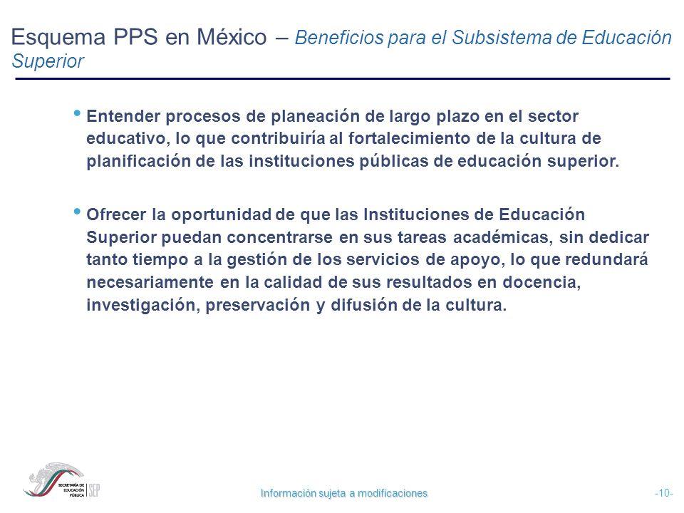 Esquema PPS en México – Beneficios para el Subsistema de Educación Superior