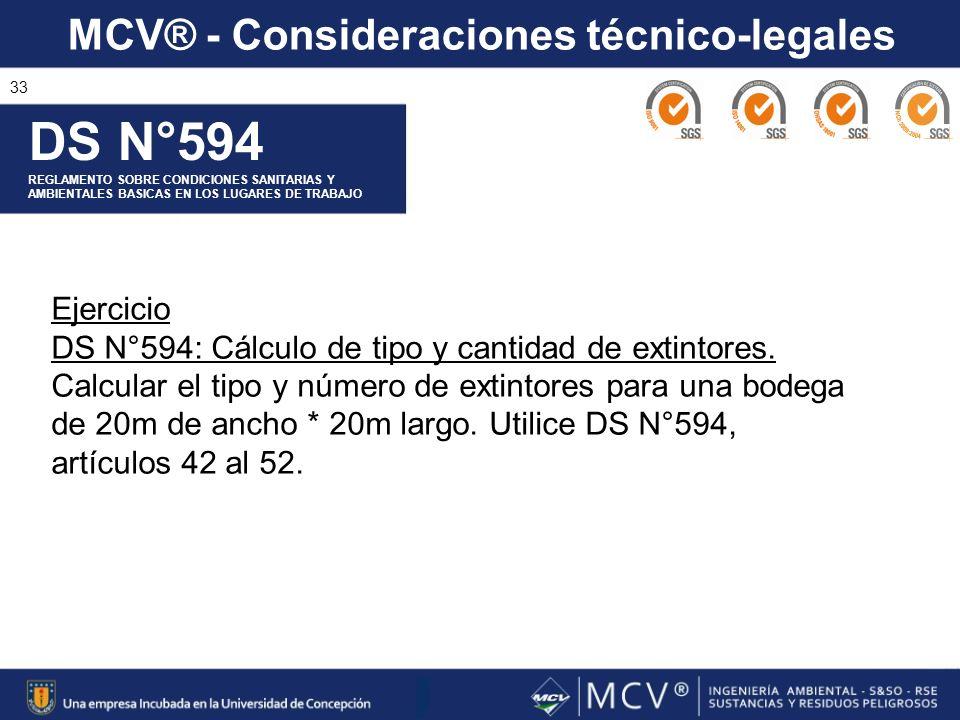 DS N°594 Ejercicio DS N°594: Cálculo de tipo y cantidad de extintores.