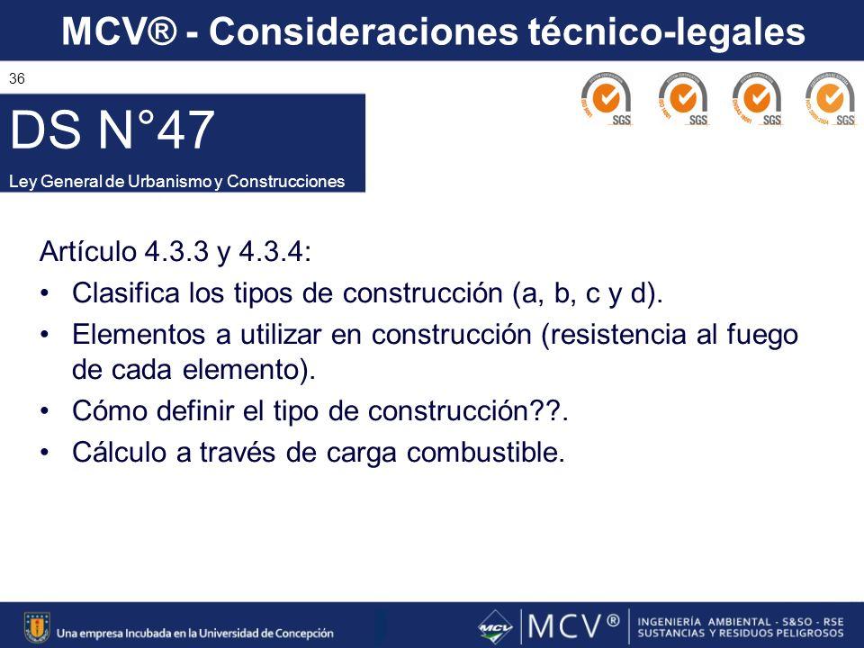 DS N°47 Ley General de Urbanismo y Construcciones. Artículo 4.3.3 y 4.3.4: Clasifica los tipos de construcción (a, b, c y d).