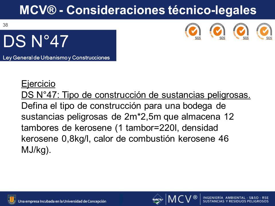 DS N°47 Ley General de Urbanismo y Construcciones. Ejercicio. DS N°47: Tipo de construcción de sustancias peligrosas.