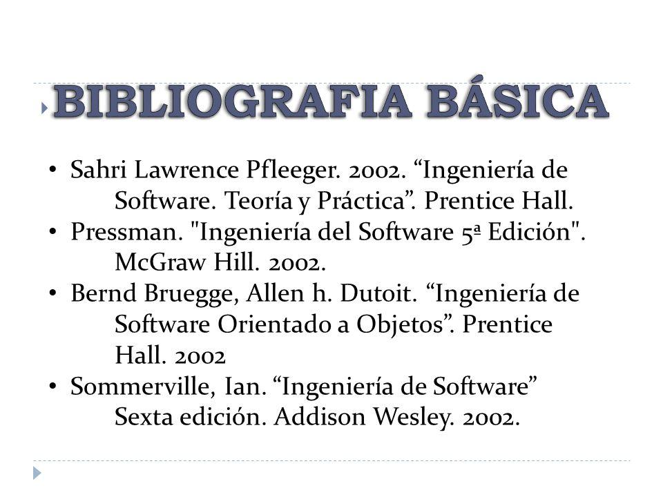 BIBLIOGRAFIA BÁSICA Sahri Lawrence Pfleeger. 2002. Ingeniería de Software. Teoría y Práctica . Prentice Hall.