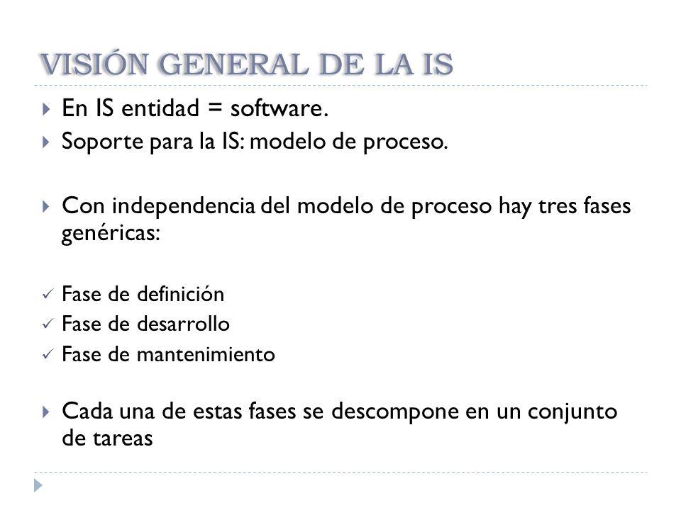 VISIÓN GENERAL DE LA IS En IS entidad = software.
