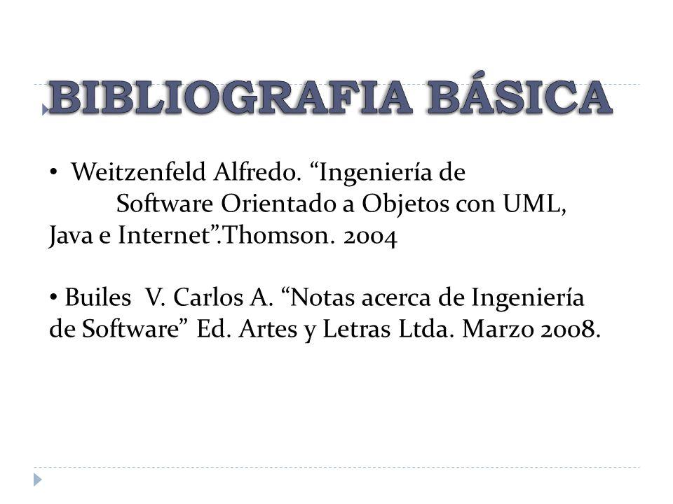 BIBLIOGRAFIA BÁSICA Weitzenfeld Alfredo. Ingeniería de Software Orientado a Objetos con UML, Java e Internet .Thomson. 2004.