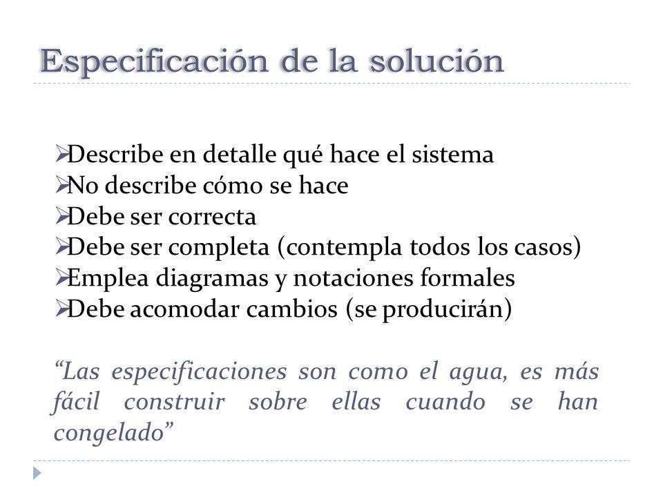 Especificación de la solución
