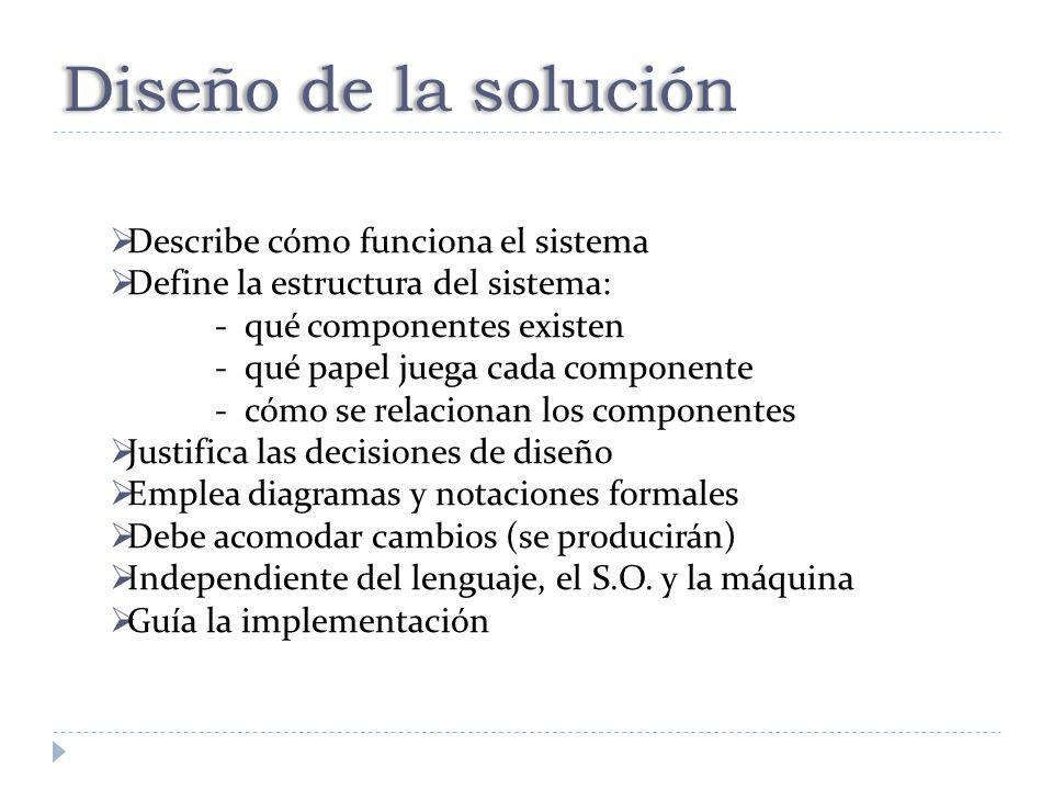 Diseño de la solución Describe cómo funciona el sistema