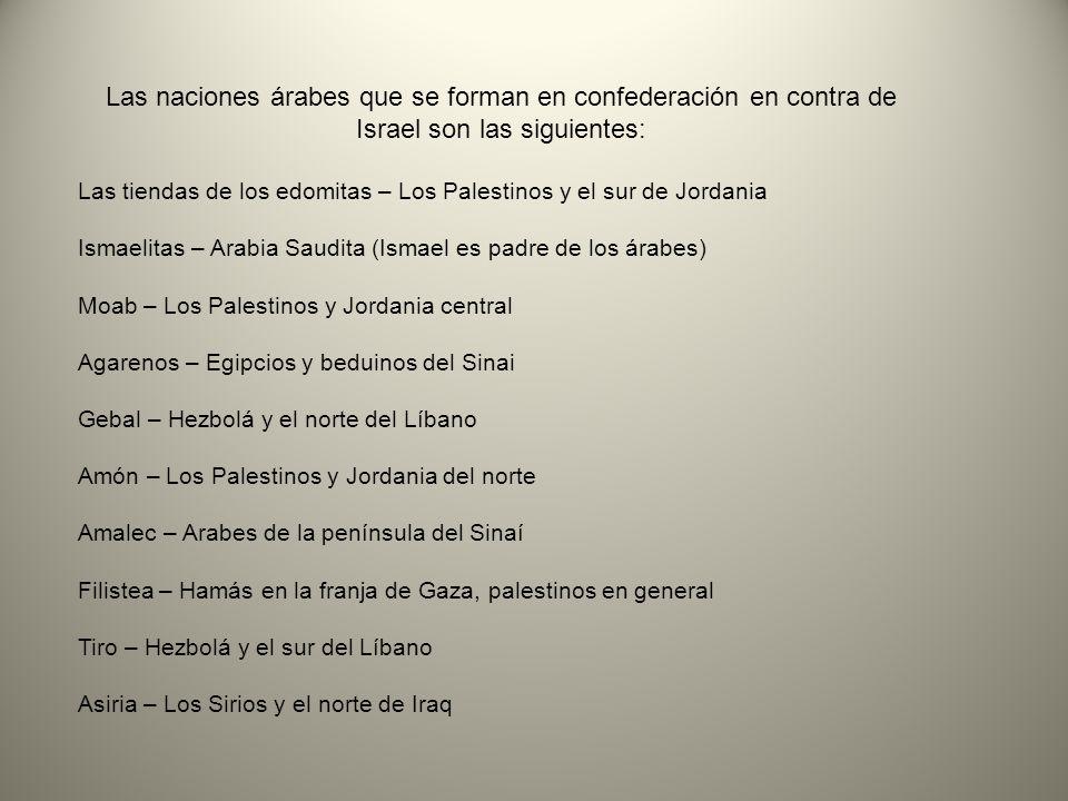 Las naciones árabes que se forman en confederación en contra de Israel son las siguientes: