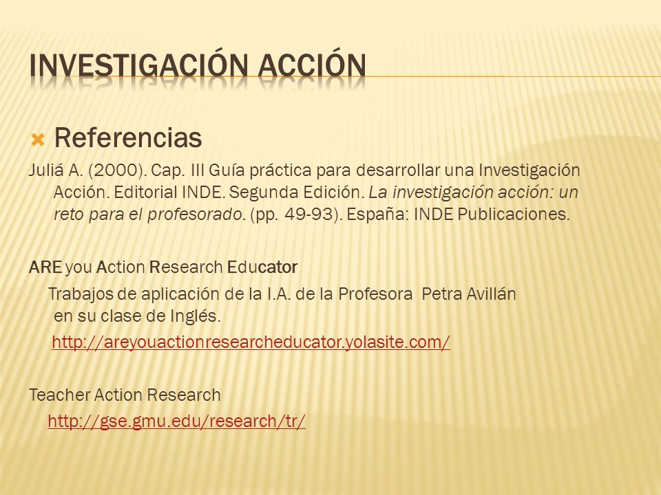 Investigación acción Referencias