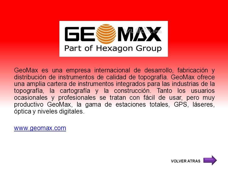 GeoMax es una empresa internacional de desarrollo, fabricación y distribución de instrumentos de calidad de topografía. GeoMax ofrece una amplia cartera de instrumentos integrados para las industrias de la topografía, la cartografía y la construcción. Tanto los usuarios ocasionales y profesionales se tratan con fácil de usar, pero muy productivo GeoMax, la gama de estaciones totales, GPS, láseres, óptica y niveles digitales. www.geomax.com