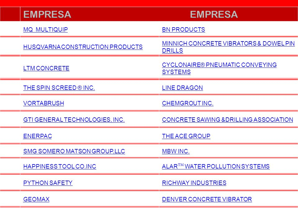 EMPRESA EMPRESA MQ MULTIQUIP BN PRODUCTS