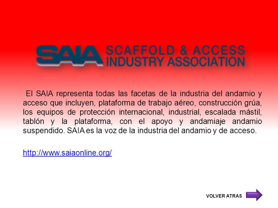 El SAIA representa todas las facetas de la industria del andamio y acceso que incluyen, plataforma de trabajo aéreo, construcción grúa, los equipos de protección internacional, industrial, escalada mástil, tablón y la plataforma, con el apoyo y andamiaje andamio suspendido. SAIA es la voz de la industria del andamio y de acceso.