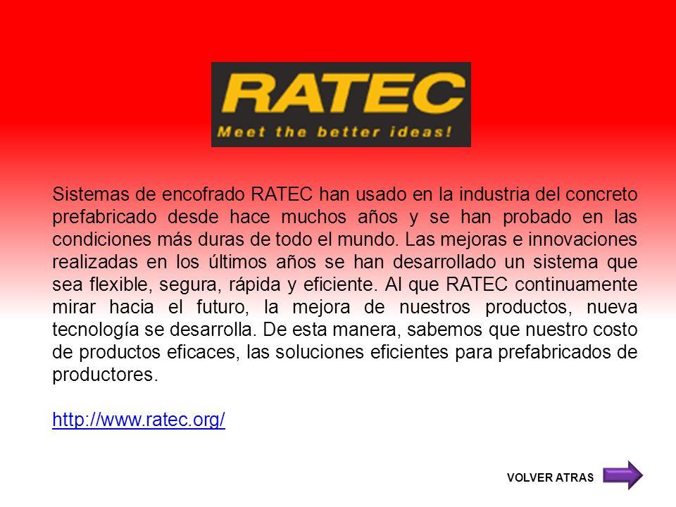 Sistemas de encofrado RATEC han usado en la industria del concreto prefabricado desde hace muchos años y se han probado en las condiciones más duras de todo el mundo. Las mejoras e innovaciones realizadas en los últimos años se han desarrollado un sistema que sea flexible, segura, rápida y eficiente. Al que RATEC continuamente mirar hacia el futuro, la mejora de nuestros productos, nueva tecnología se desarrolla. De esta manera, sabemos que nuestro costo de productos eficaces, las soluciones eficientes para prefabricados de productores.