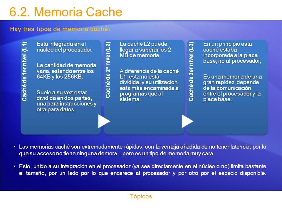 6.2. Memoria Cache Hay tres tipos de memoria caché: Tópicos