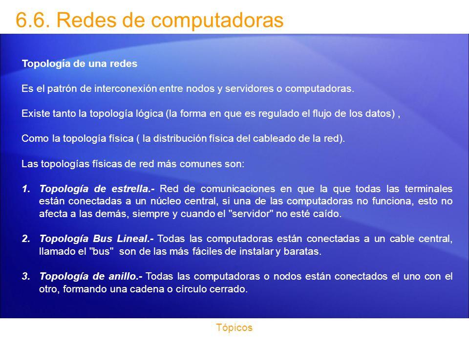 6.6. Redes de computadoras Topología de una redes