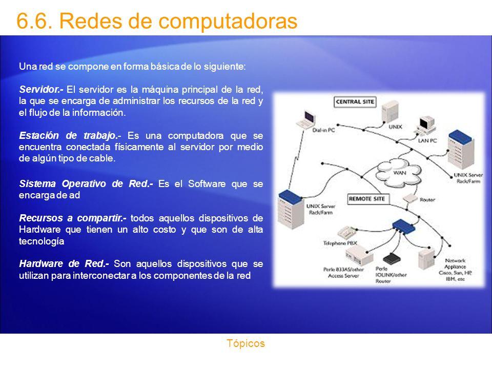 6.6. Redes de computadoras Tópicos