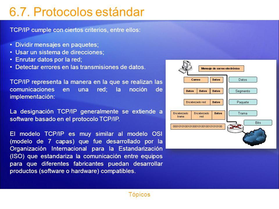 6.7. Protocolos estándar TCP/IP cumple con ciertos criterios, entre ellos: Dividir mensajes en paquetes;