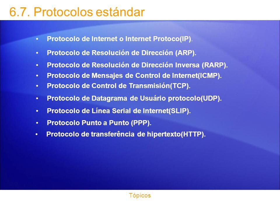 6.7. Protocolos estándar Protocolo de Internet o Internet Protoco(IP).