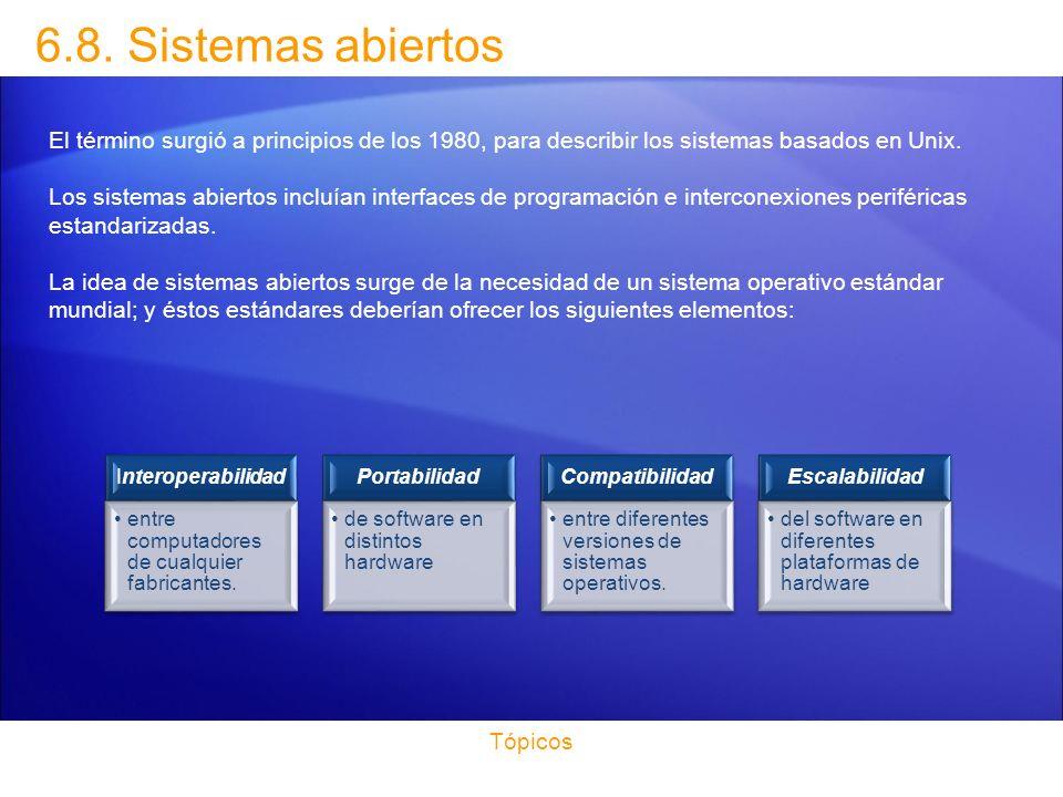 6.8. Sistemas abiertos El término surgió a principios de los 1980, para describir los sistemas basados en Unix.