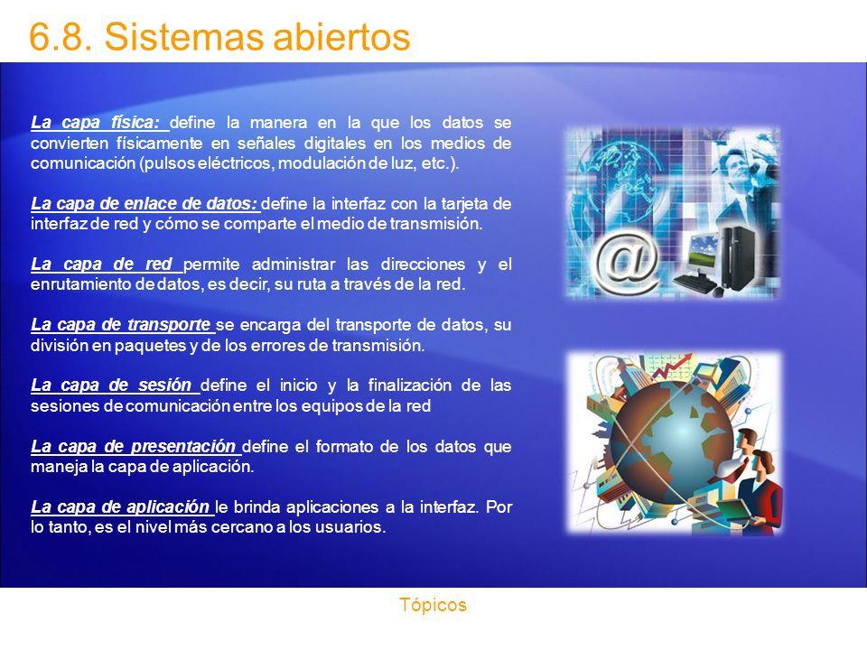 6.8. Sistemas abiertos Tópicos