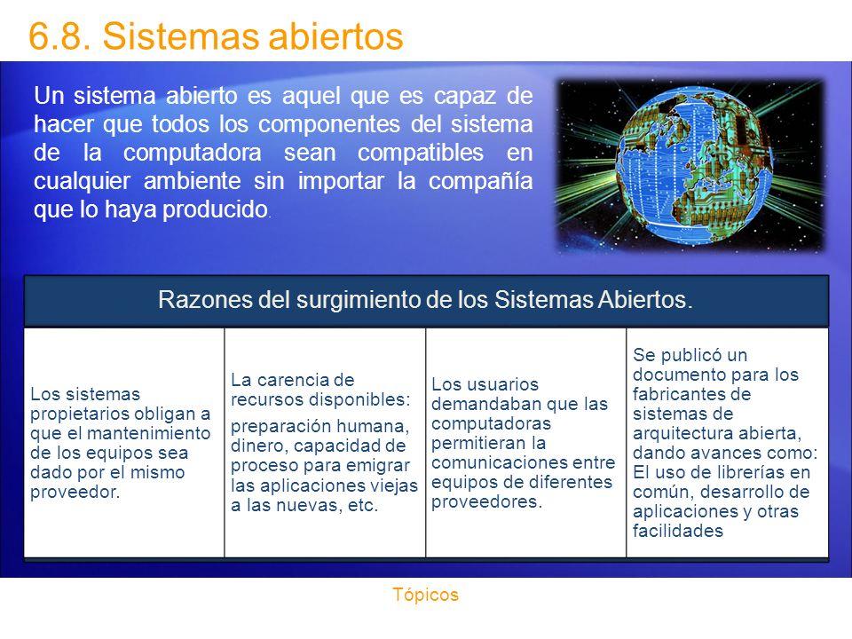 Razones del surgimiento de los Sistemas Abiertos.