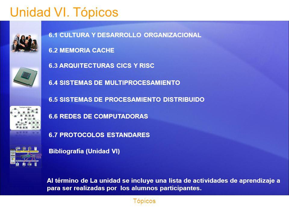 Unidad VI. Tópicos 6.1 CULTURA Y DESARROLLO ORGANIZACIONAL 6.2 MEMORIA CACHE 6.3 ARQUITECTURAS CICS Y RISC.