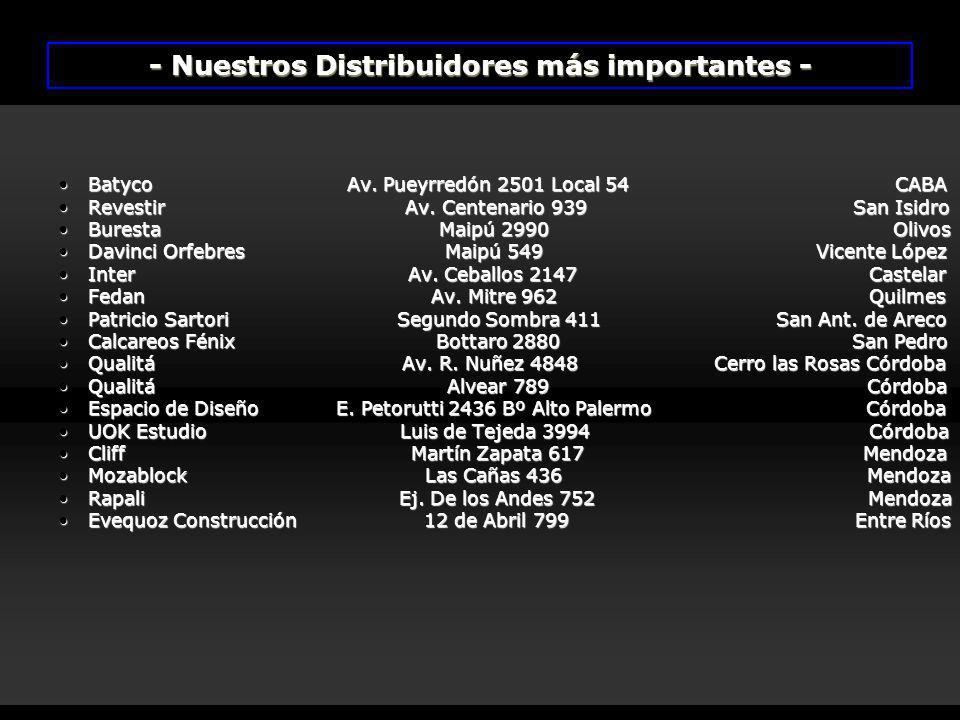- Nuestros Distribuidores más importantes -