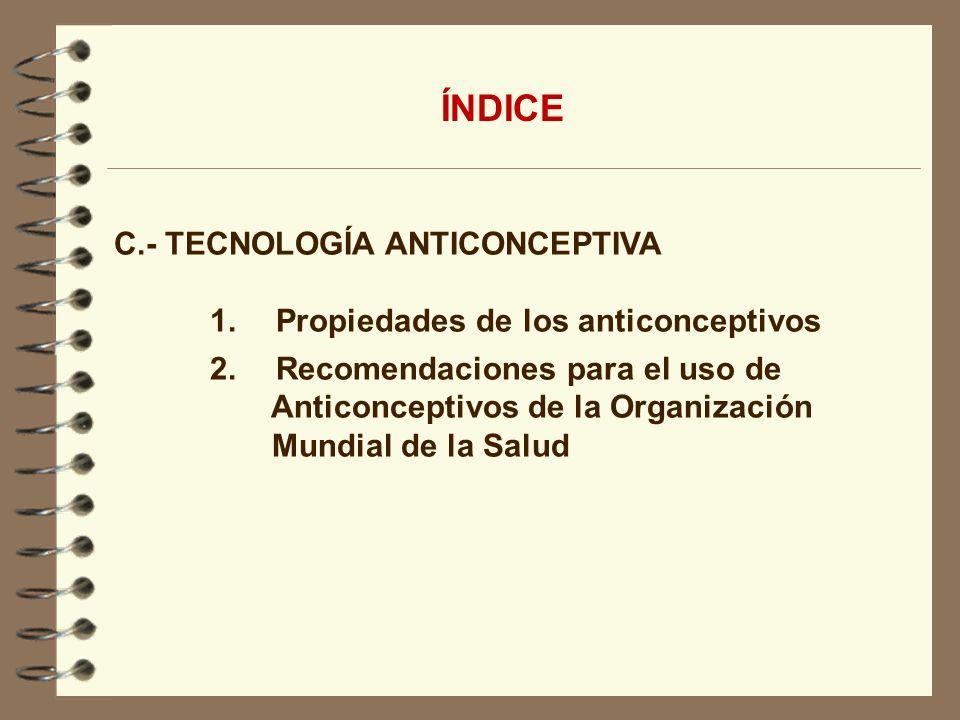 ÍNDICE C.- TECNOLOGÍA ANTICONCEPTIVA