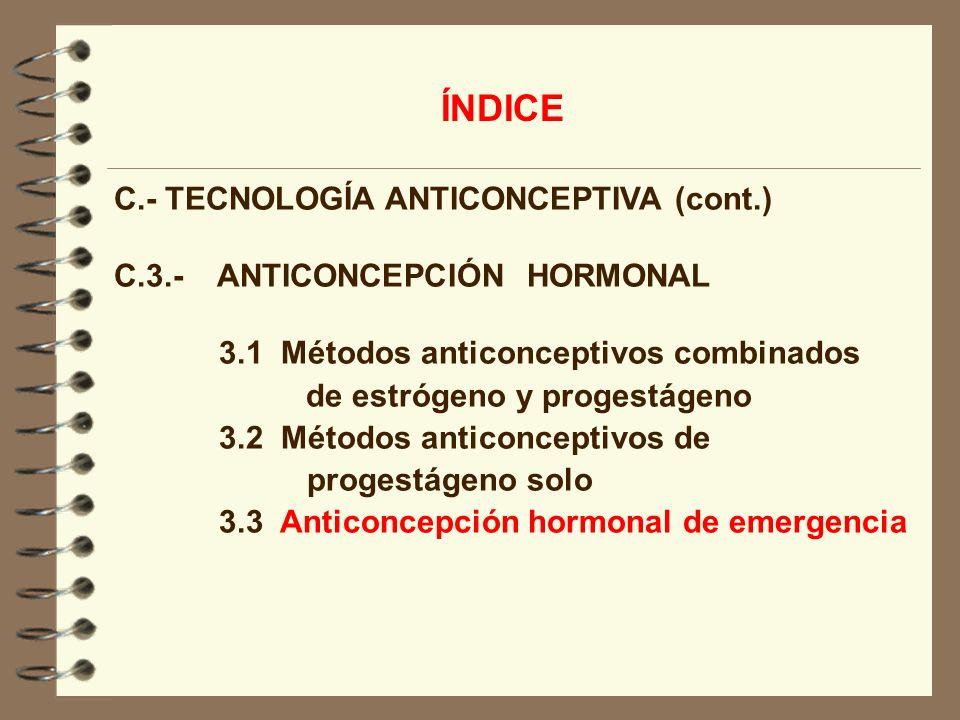 ÍNDICE C.- TECNOLOGÍA ANTICONCEPTIVA (cont.)