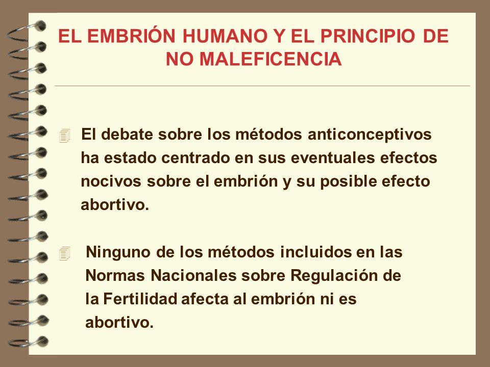EL EMBRIÓN HUMANO Y EL PRINCIPIO DE NO MALEFICENCIA