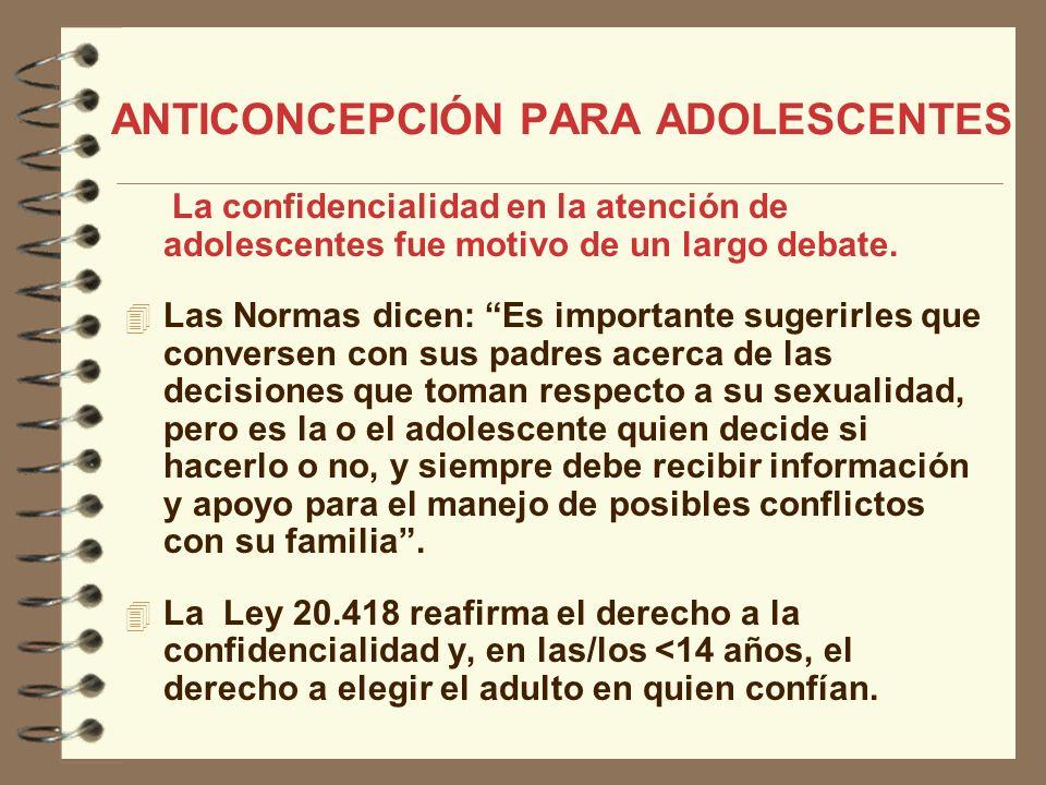 ANTICONCEPCIÓN PARA ADOLESCENTES