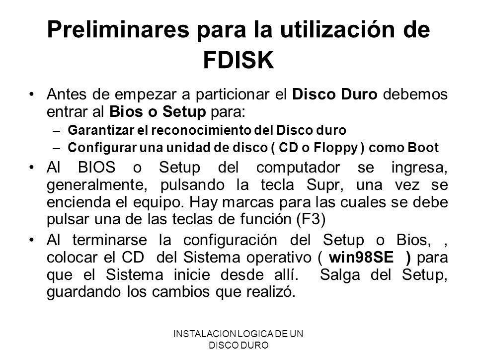 Preliminares para la utilización de FDISK