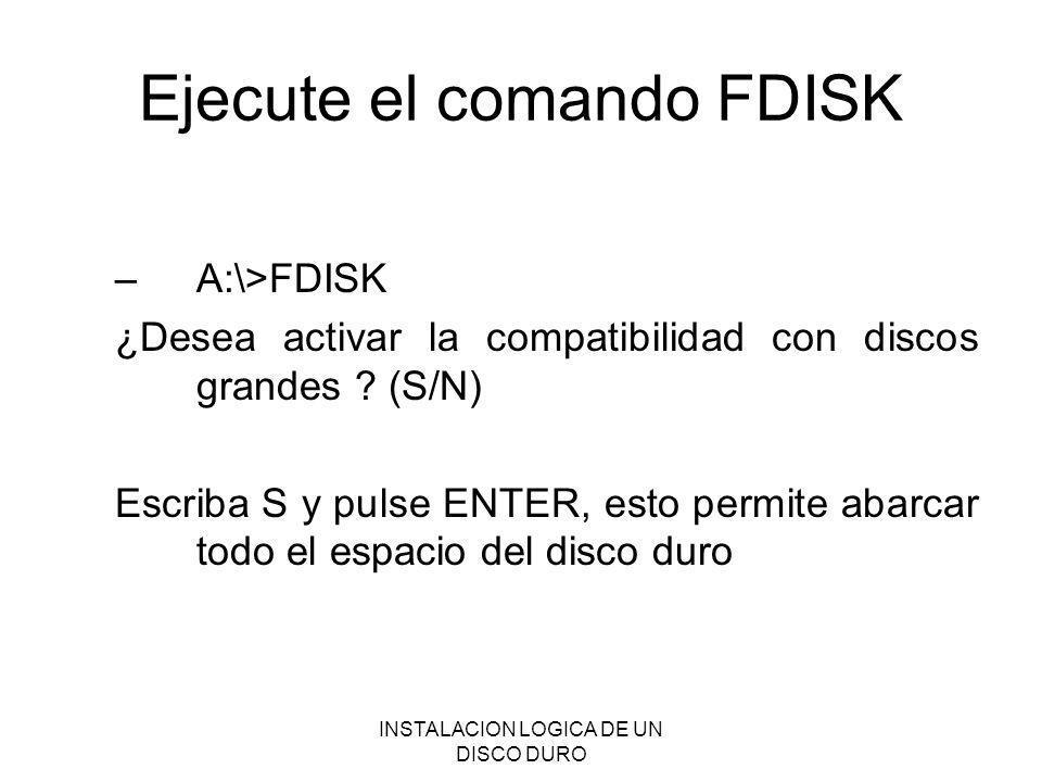 Ejecute el comando FDISK