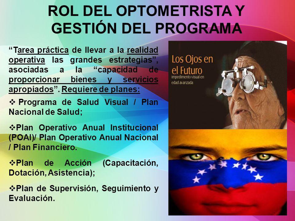 ROL DEL OPTOMETRISTA Y GESTIÓN DEL PROGRAMA