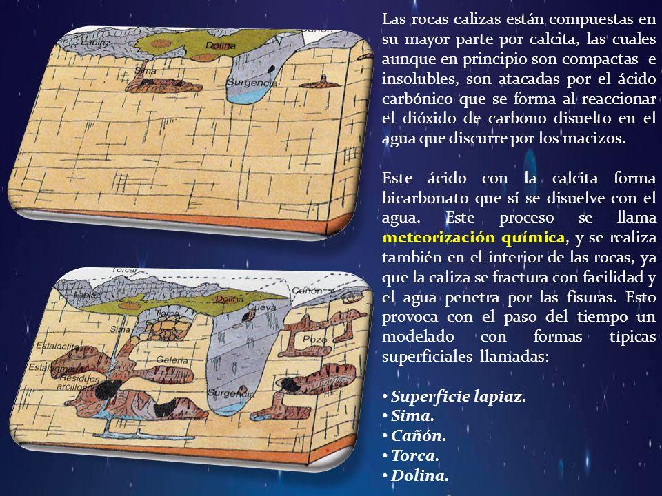 Las rocas calizas están compuestas en su mayor parte por calcita, las cuales aunque en principio son compactas e insolubles, son atacadas por el ácido carbónico que se forma al reaccionar el dióxido de carbono disuelto en el agua que discurre por los macizos.