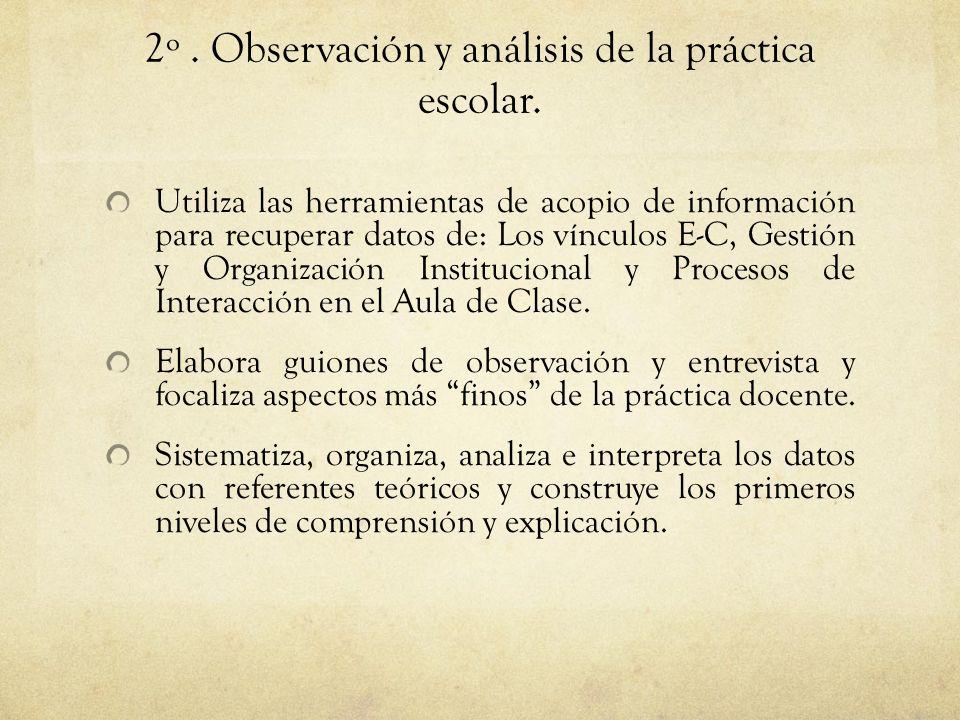 2º . Observación y análisis de la práctica escolar.