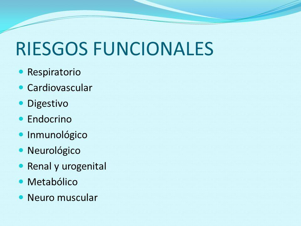RIESGOS FUNCIONALES Respiratorio Cardiovascular Digestivo Endocrino