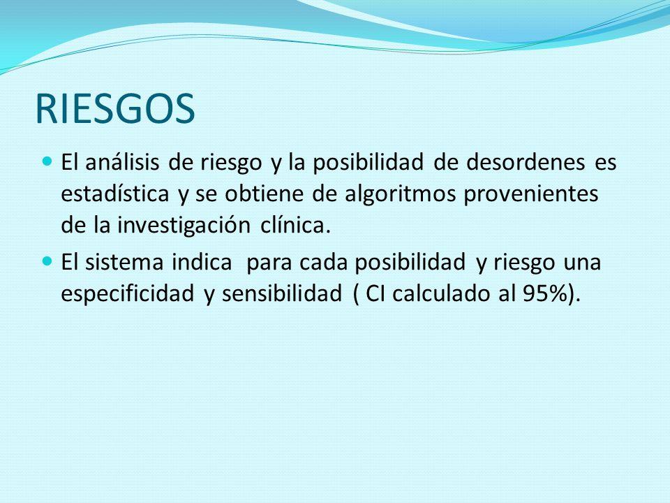 RIESGOSEl análisis de riesgo y la posibilidad de desordenes es estadística y se obtiene de algoritmos provenientes de la investigación clínica.