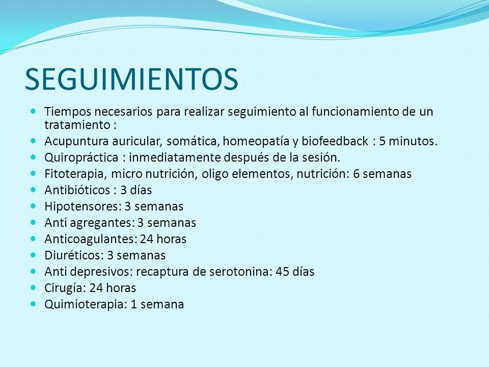 SEGUIMIENTOSTiempos necesarios para realizar seguimiento al funcionamiento de un tratamiento :