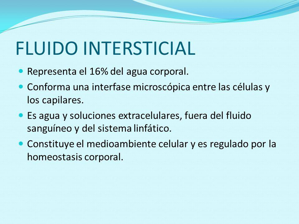 FLUIDO INTERSTICIAL Representa el 16% del agua corporal.