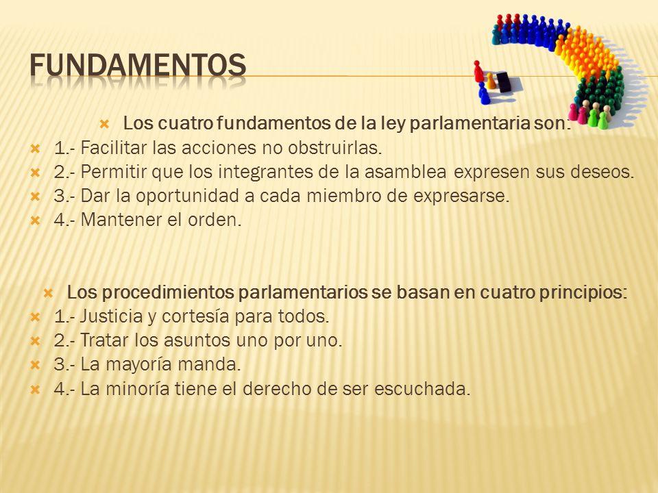 FUNDAMENTOS Los cuatro fundamentos de la ley parlamentaria son: