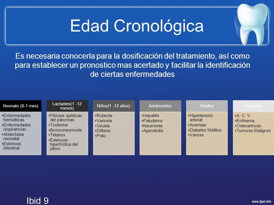 Edad Cronológica Neonato (0-1 mes) Enfermedades hemolíticas. Enfermedades respiratorias. Atelectasia neonatal.