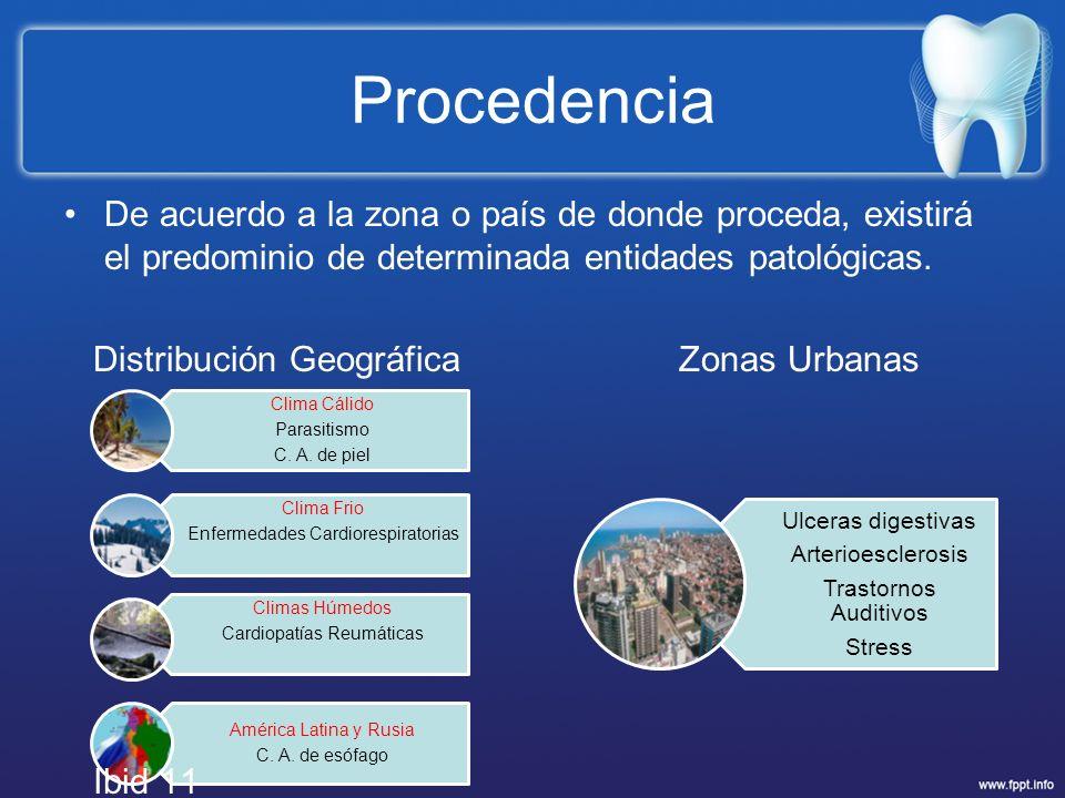 Procedencia De acuerdo a la zona o país de donde proceda, existirá el predominio de determinada entidades patológicas.