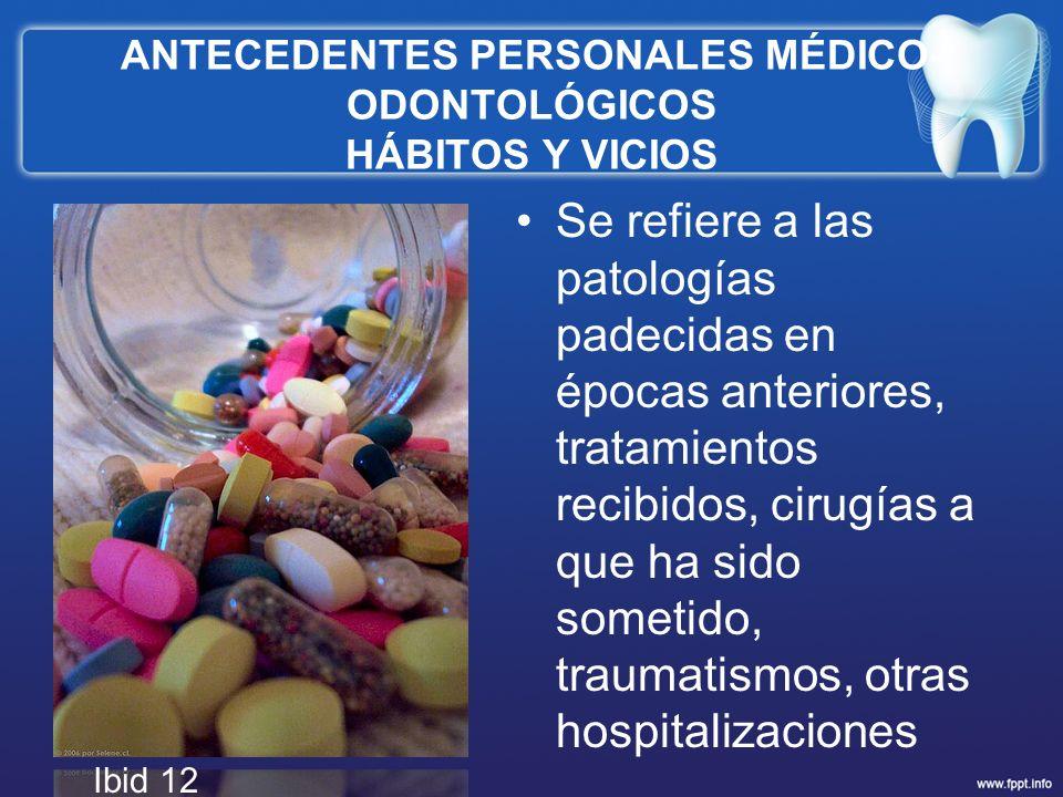 ANTECEDENTES PERSONALES MÉDICO-ODONTOLÓGICOS HÁBITOS Y VICIOS