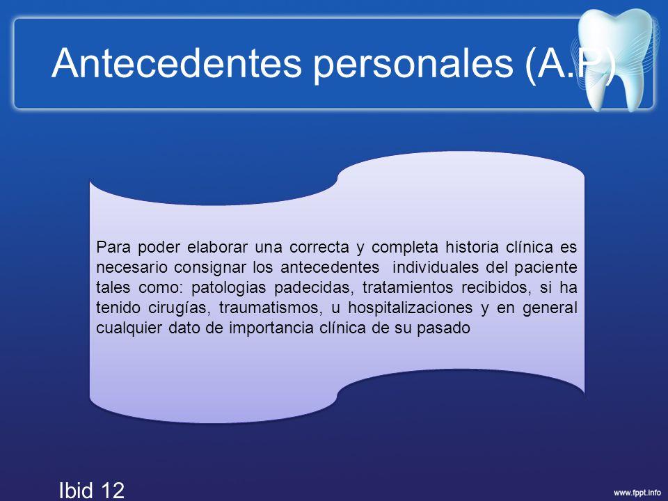 Antecedentes personales (A.P)