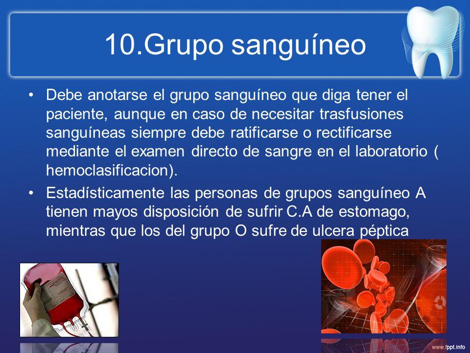 10.Grupo sanguíneo