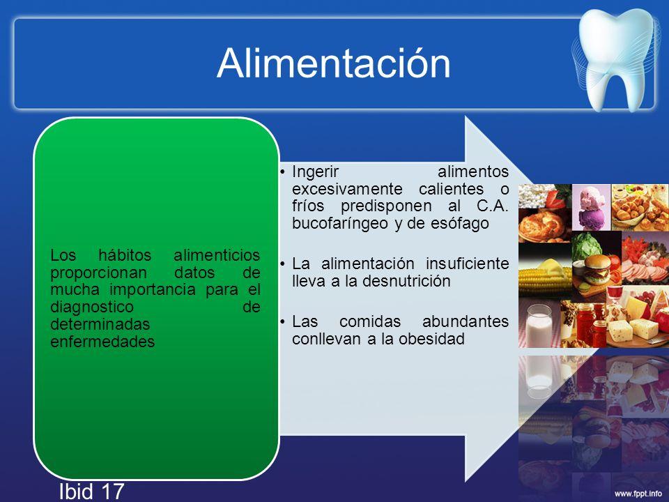 Alimentación Ingerir alimentos excesivamente calientes o fríos predisponen al C.A. bucofaríngeo y de esófago.