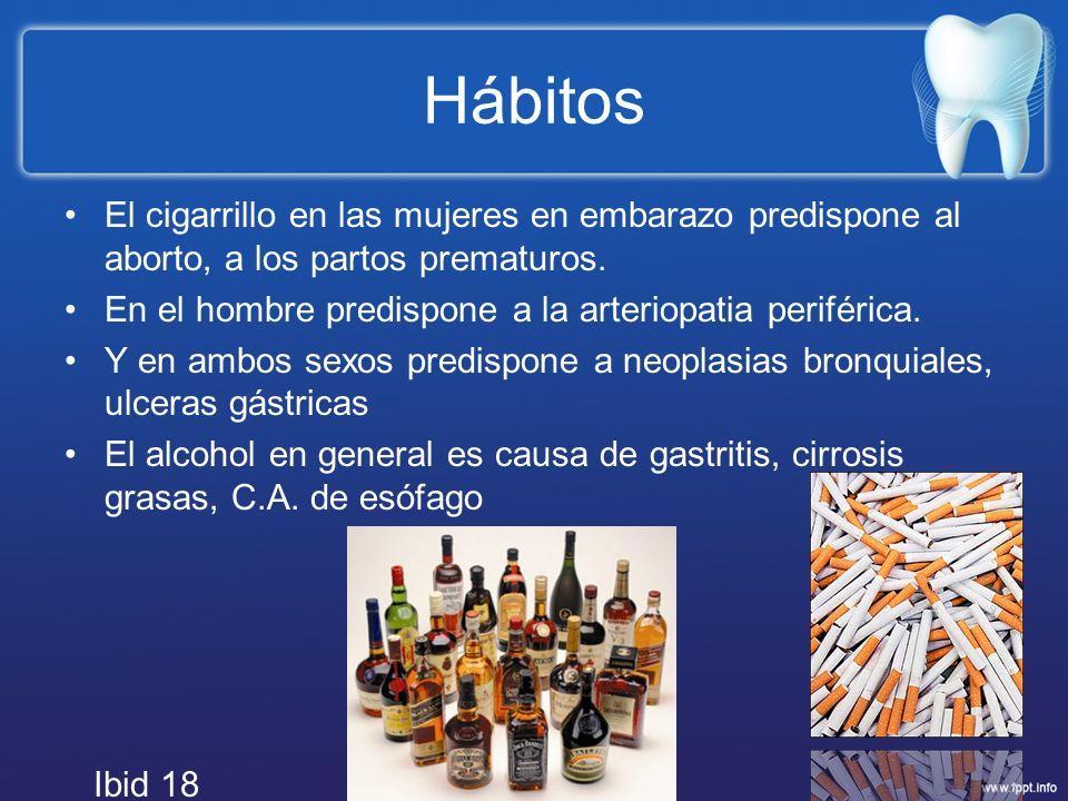 Hábitos El cigarrillo en las mujeres en embarazo predispone al aborto, a los partos prematuros.