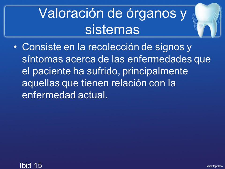 Valoración de órganos y sistemas