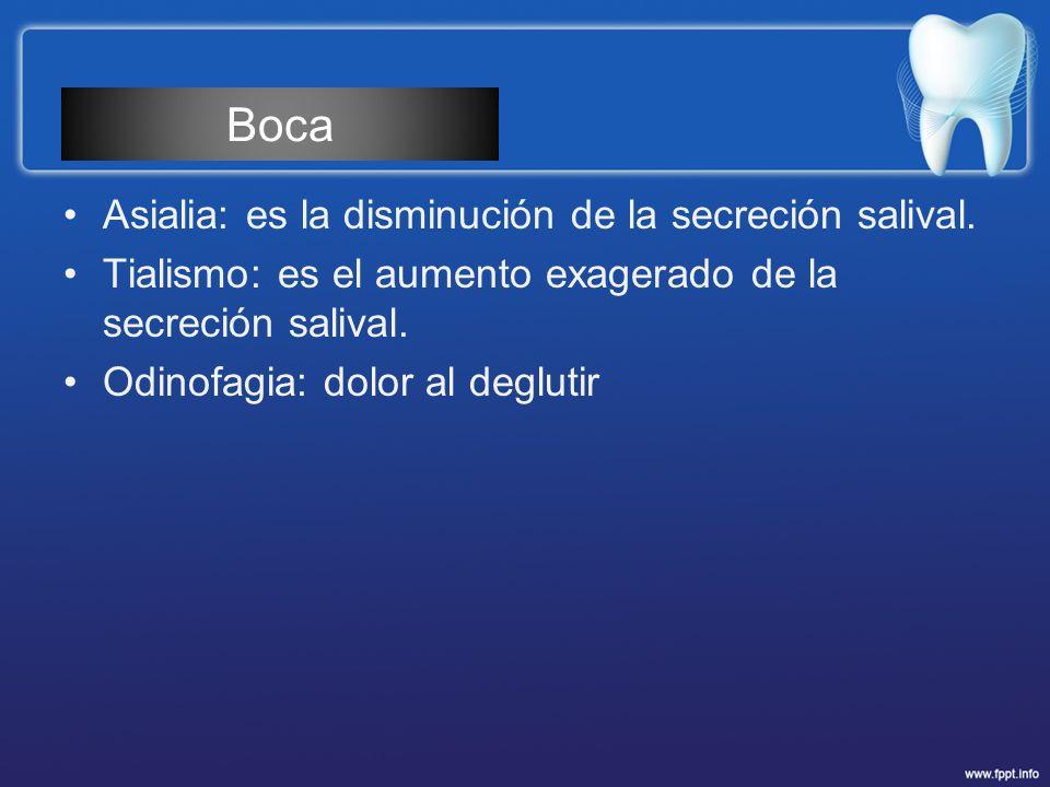Boca Asialia: es la disminución de la secreción salival.