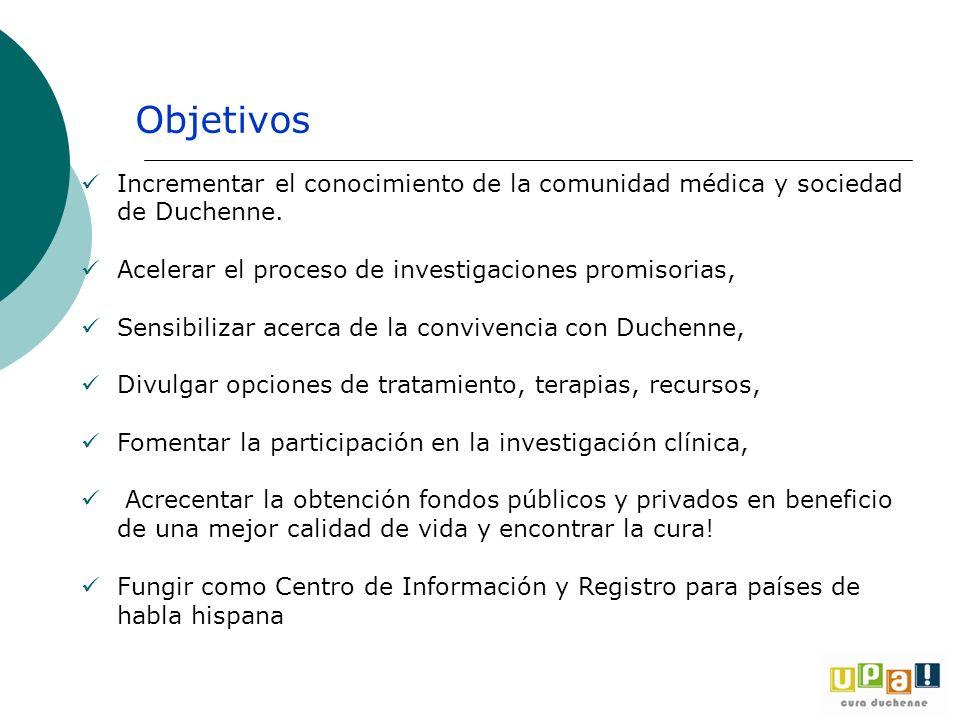 Objetivos Incrementar el conocimiento de la comunidad médica y sociedad de Duchenne. Acelerar el proceso de investigaciones promisorias,