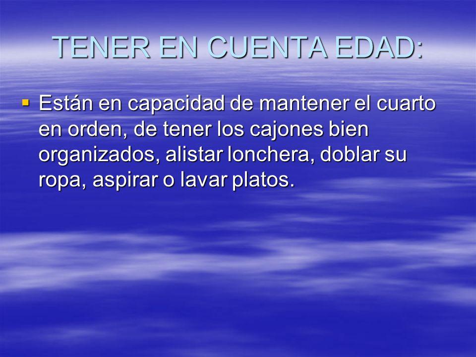 TENER EN CUENTA EDAD: